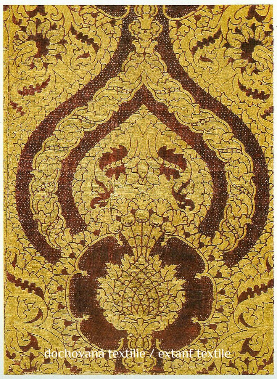 Renaissance brocade, floral with pomegranates, red