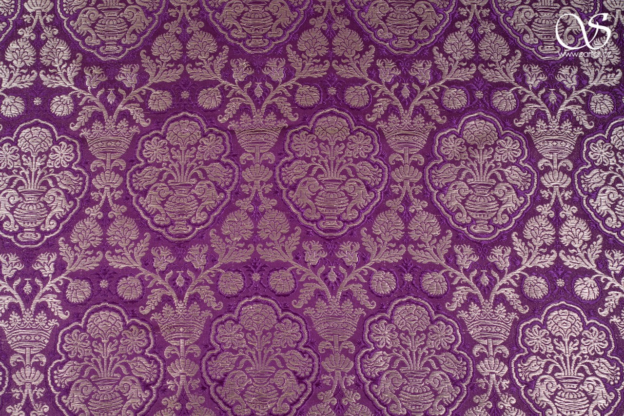 Renaissance brocade in pomegranate pattern, Tyrian purple