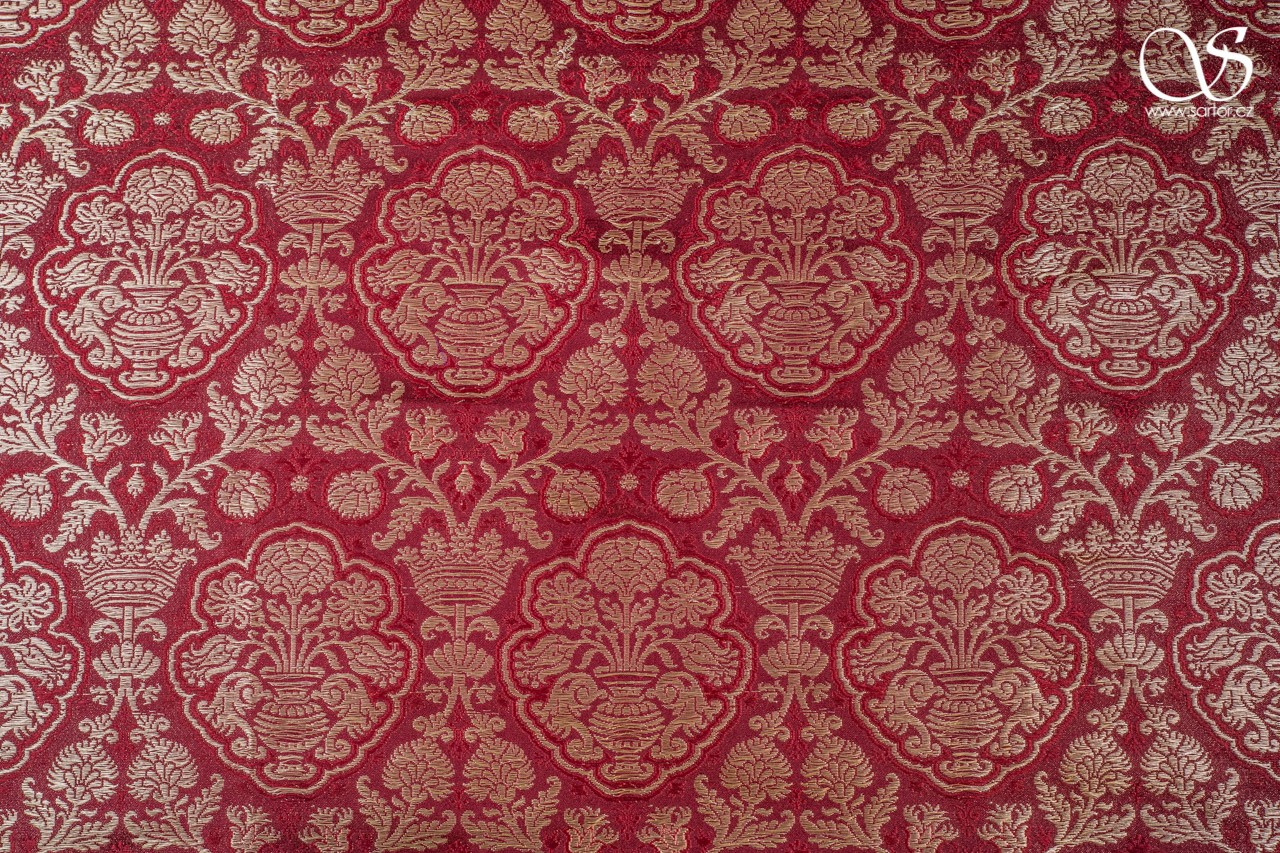 Renaissance brocade in pomegranate pattern, crimson