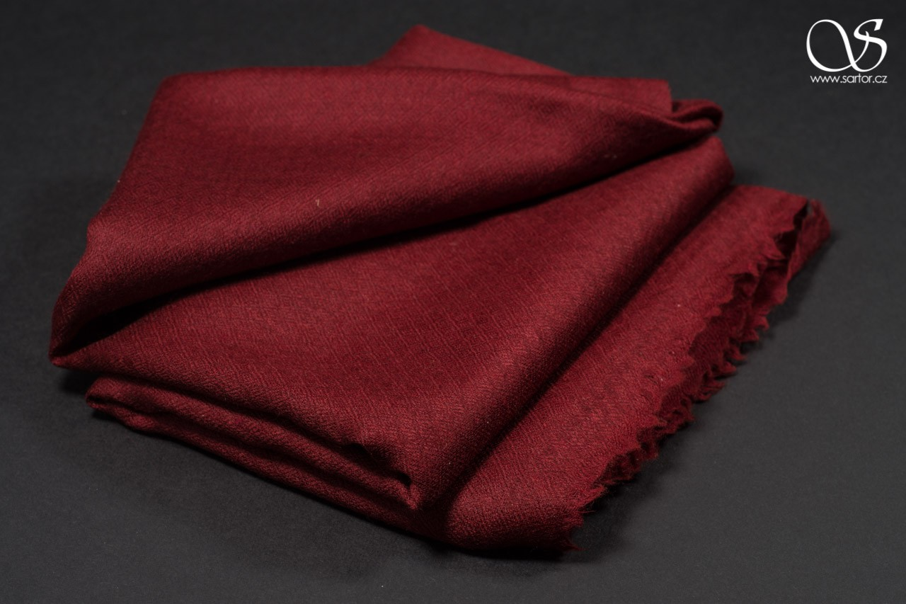 Wool Scarf w/Silk, wine red
