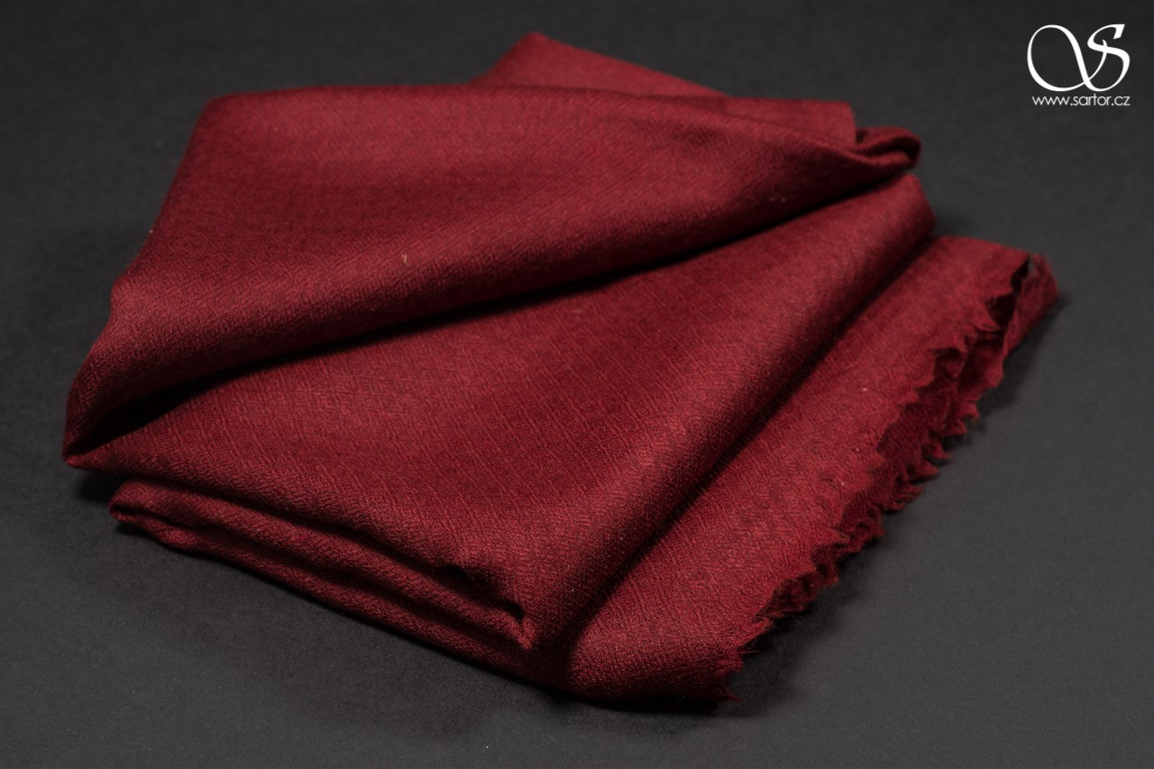 Wool Scarf w/Silk, crimson