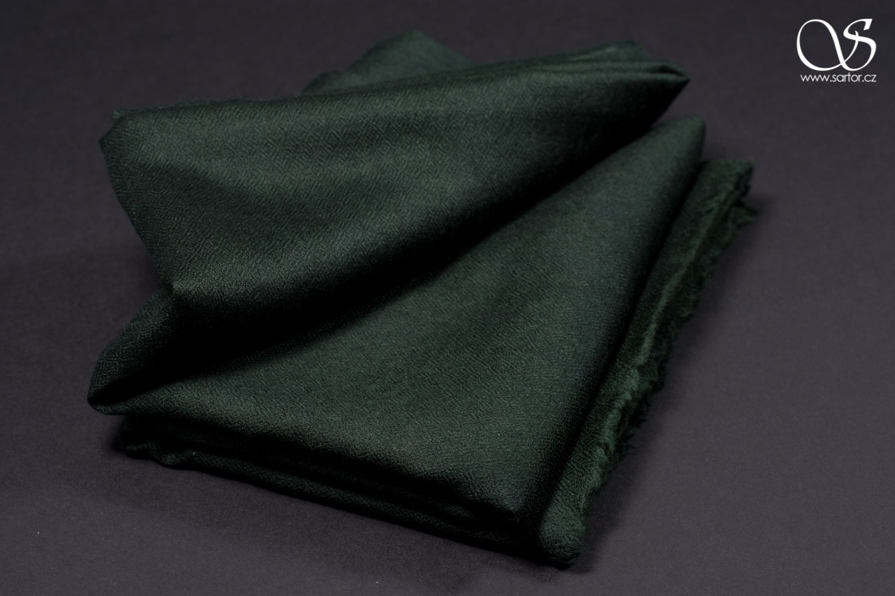 Wool Scarf w/Silk, dark green