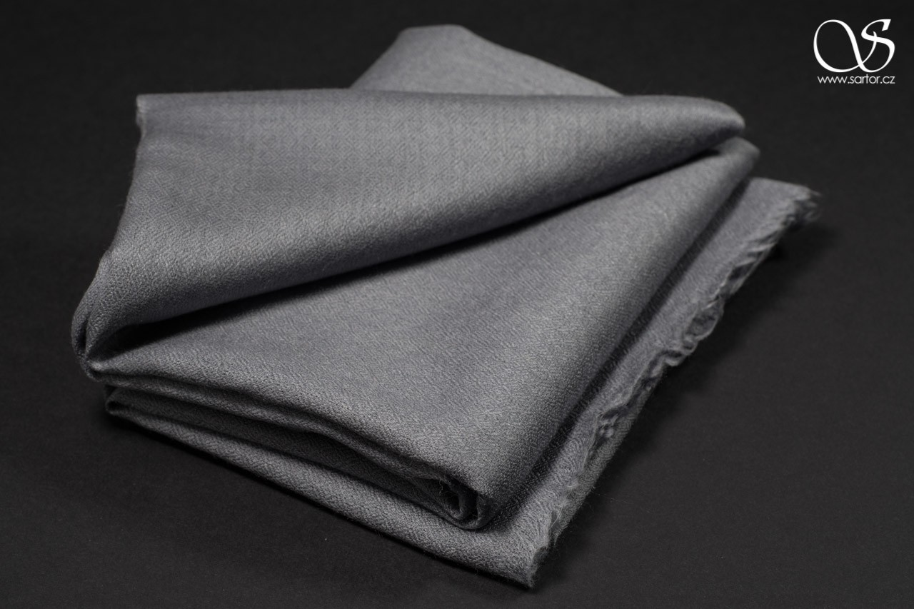 Wool Scarf w/Silk, grey