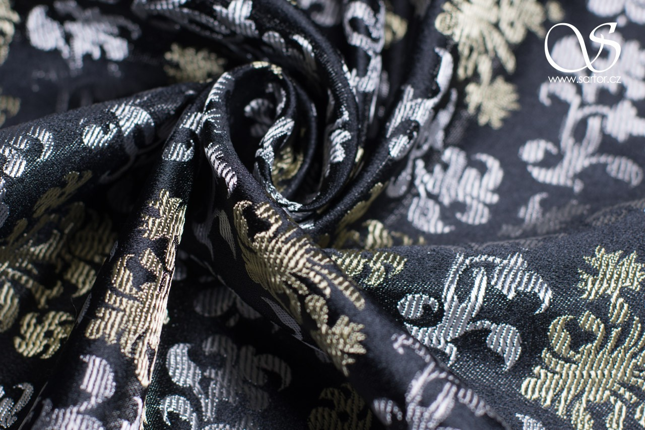 Floral Renaissance Brocade, Black with Silver and Gold