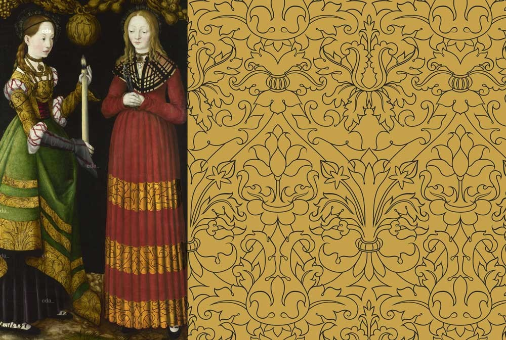 Cranach cloth of gold in red