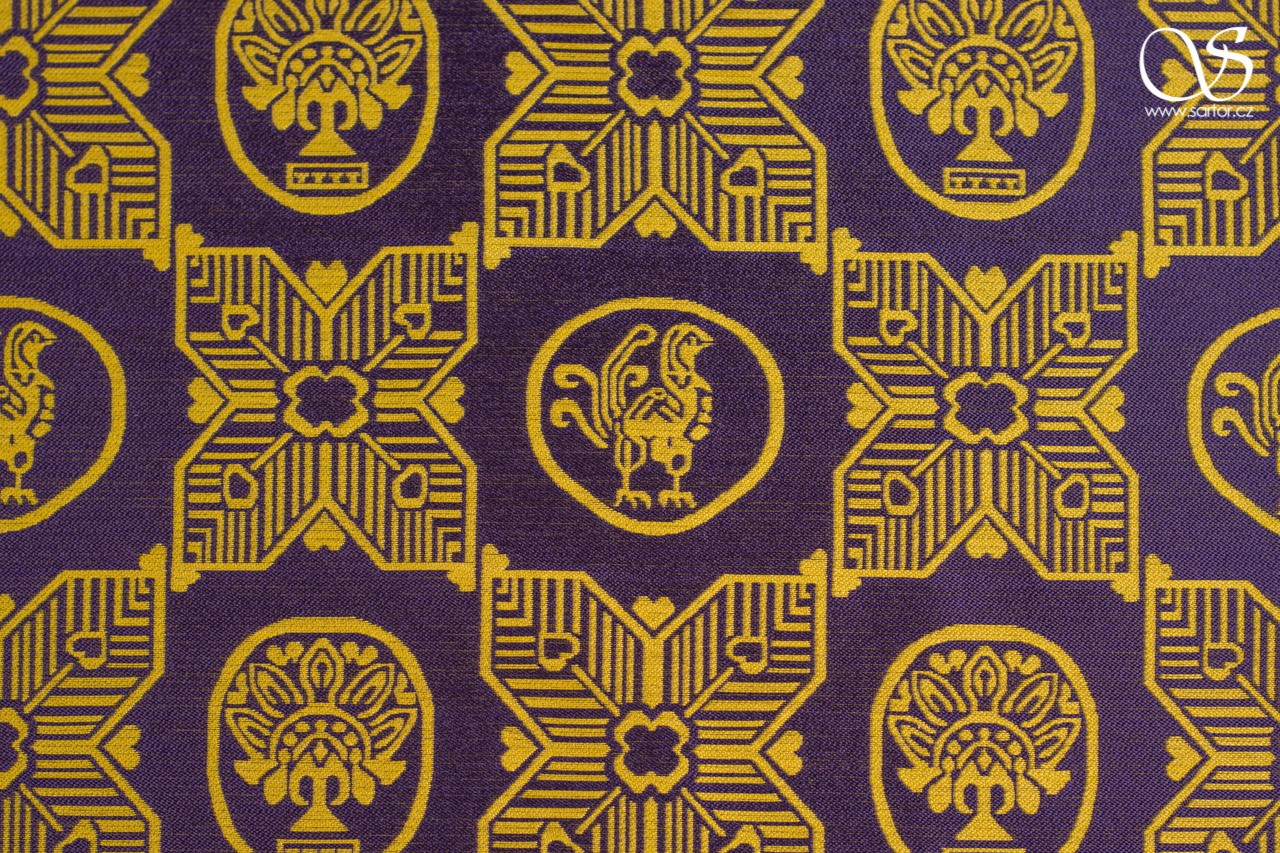 Samite with Byzantine medallions, midnight blue