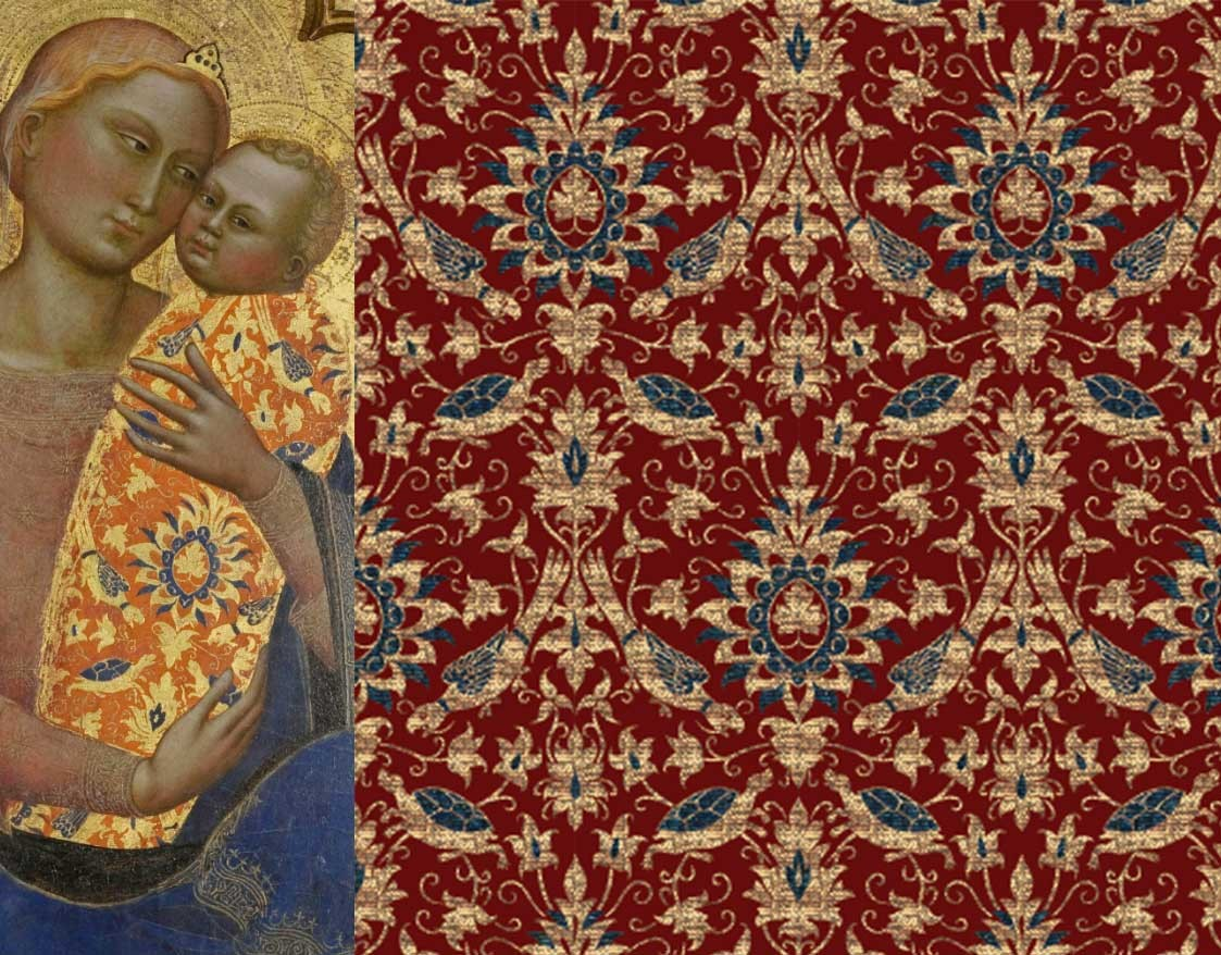 Tortoise and parrot brocade, red