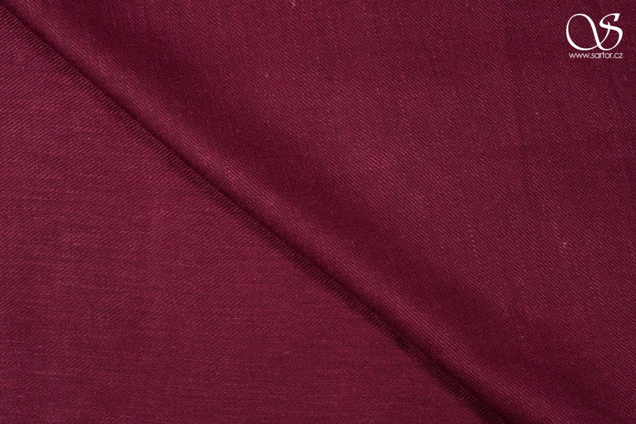 Twill linen with cotton, burgundy, DEFECTS