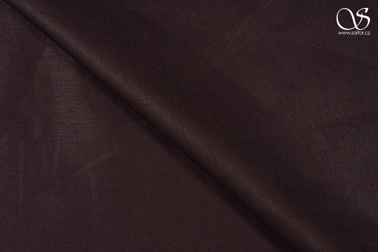 Twill linen with cotton, chocolate brown