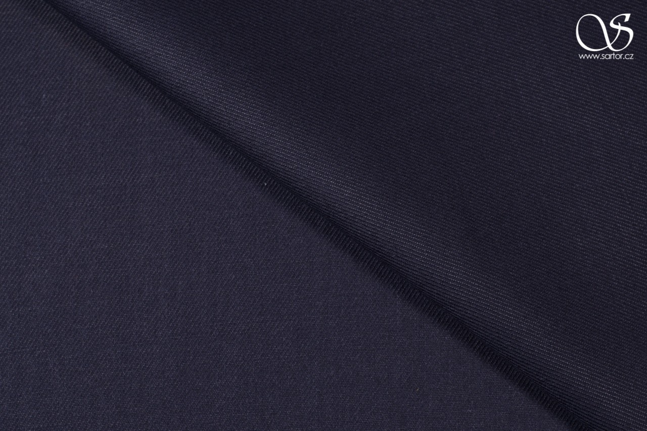Twill linen with cotton, dark blue