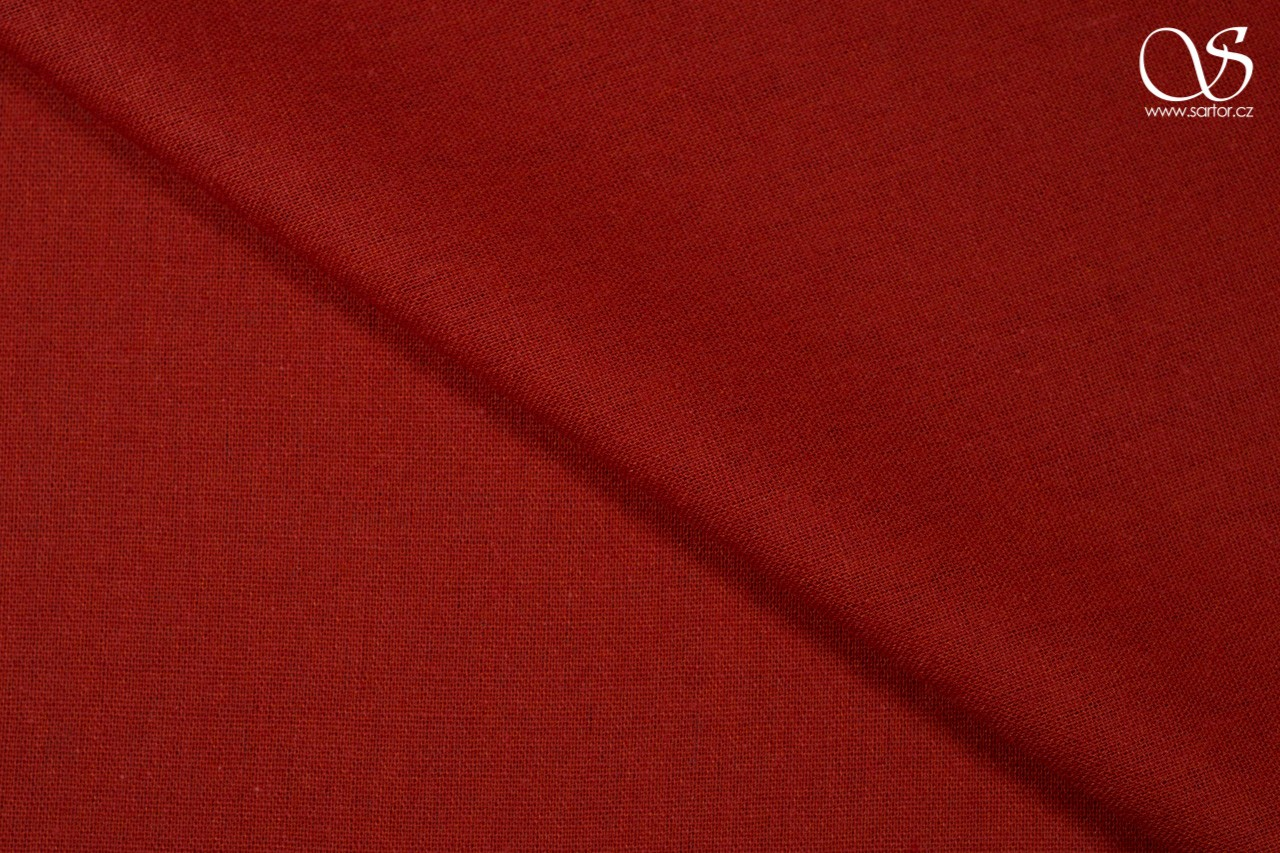 Linen with cotton, brick red