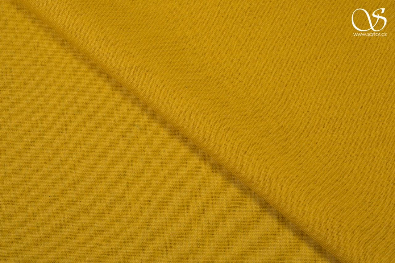 Linen with cotton, yellow, DEFECTS
