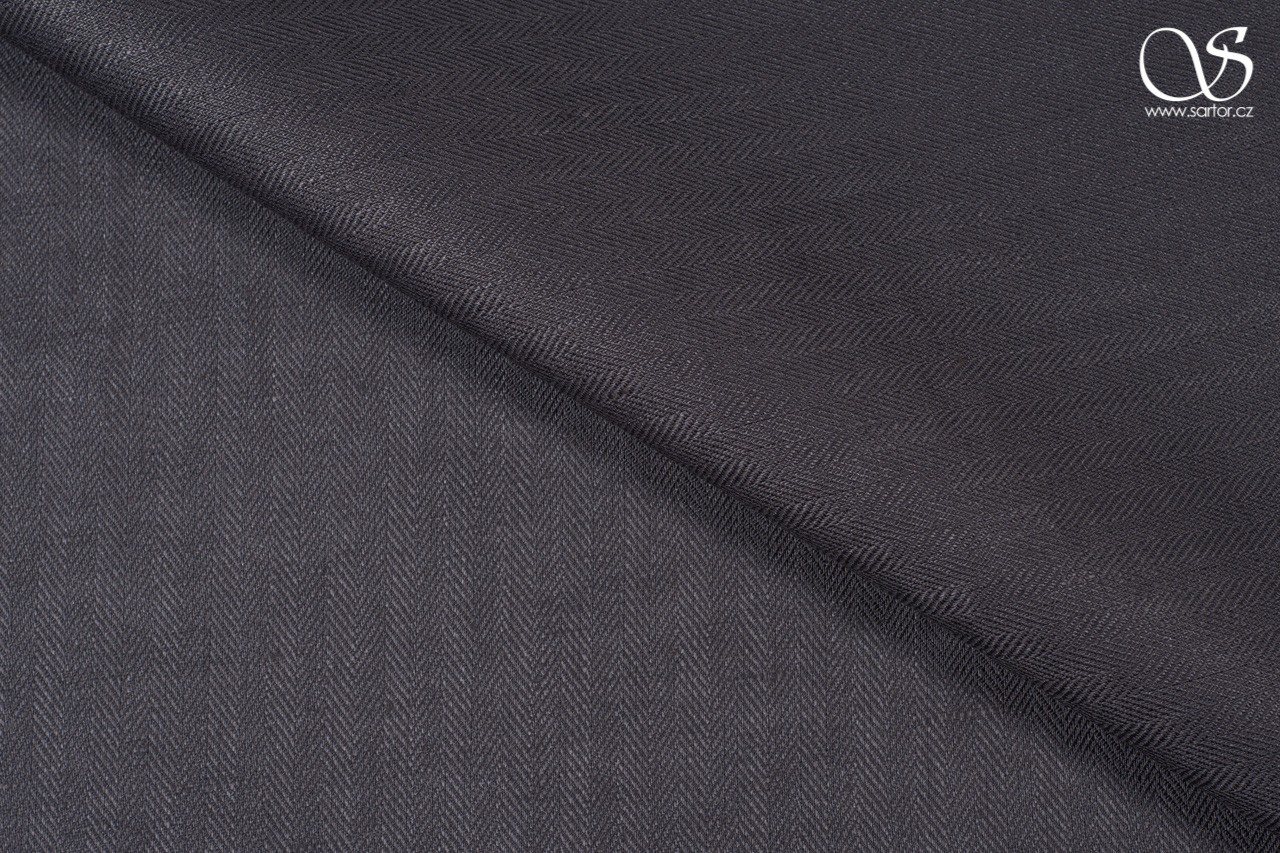 Herringbone linen, dark grey