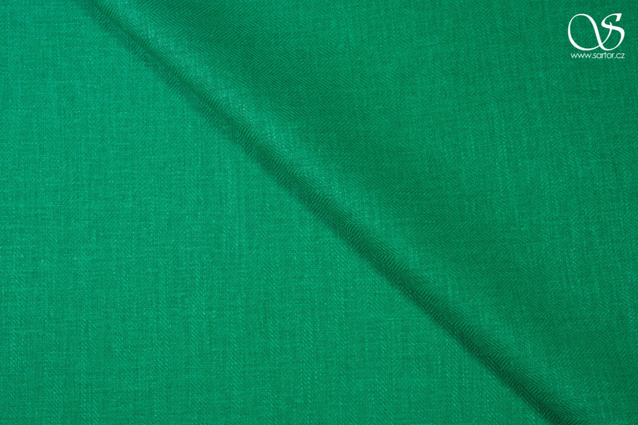 Herringbone linen, bright green