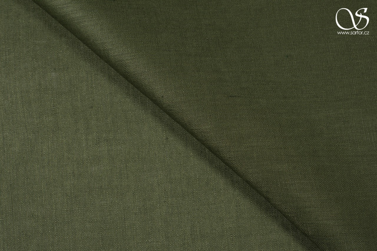 Fine linen, dark olive green, DEFECTS