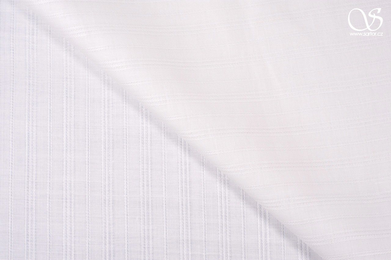 Fine striped openwork linen, pure white