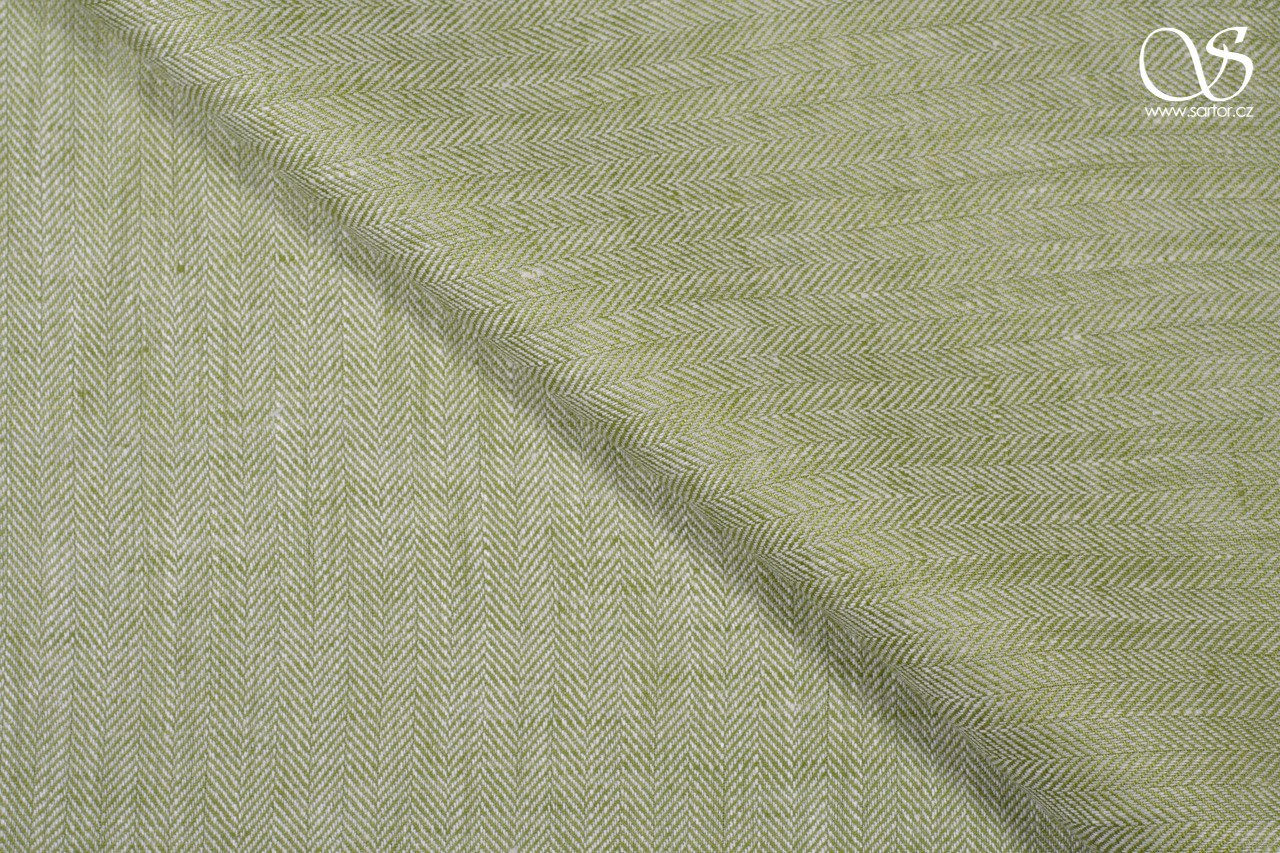 Herringbone linen, light green and white