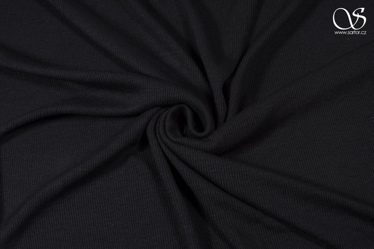 Rib knit, recycled rayon, black