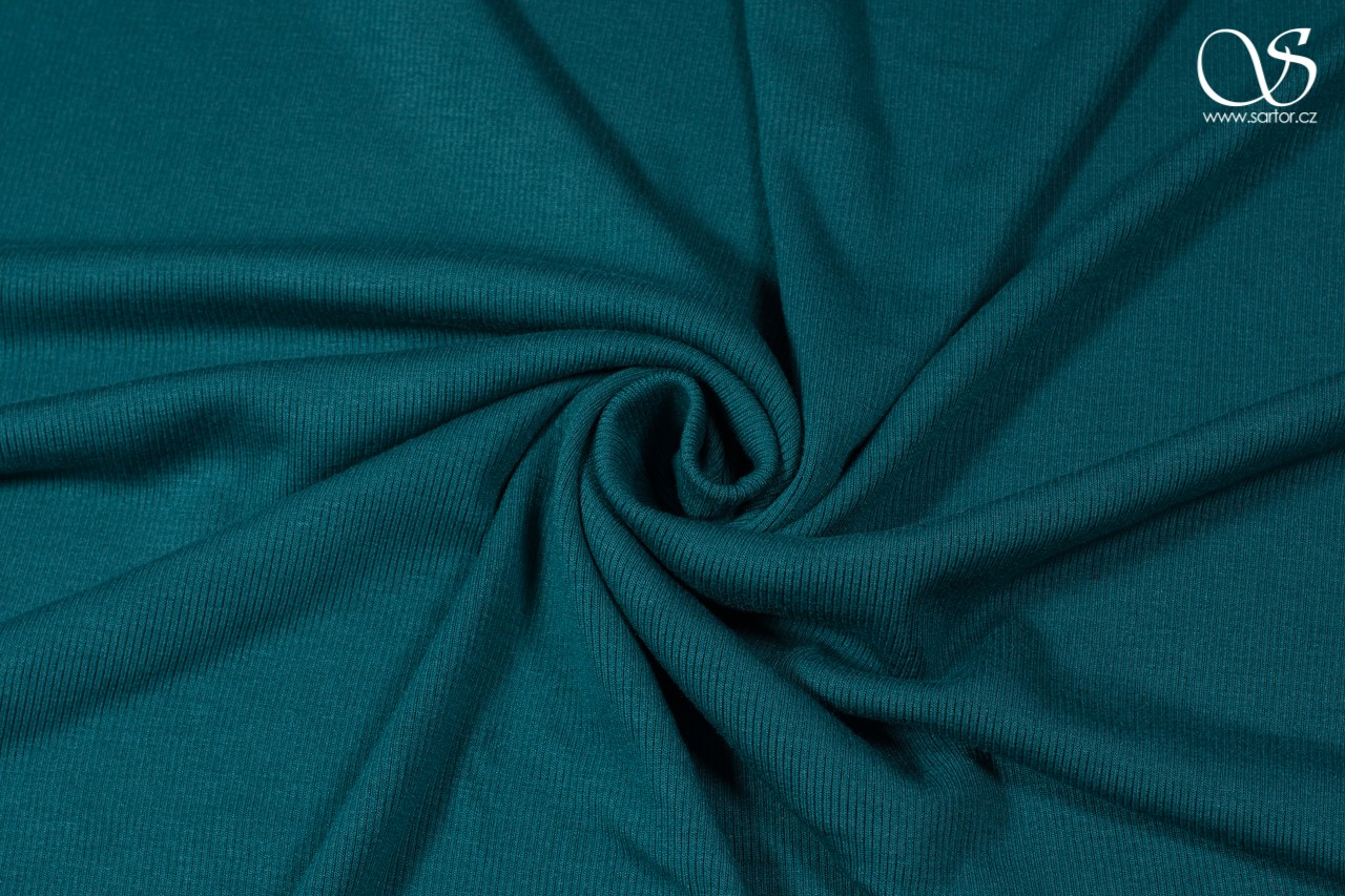 Rib knit, recycled rayon, teal