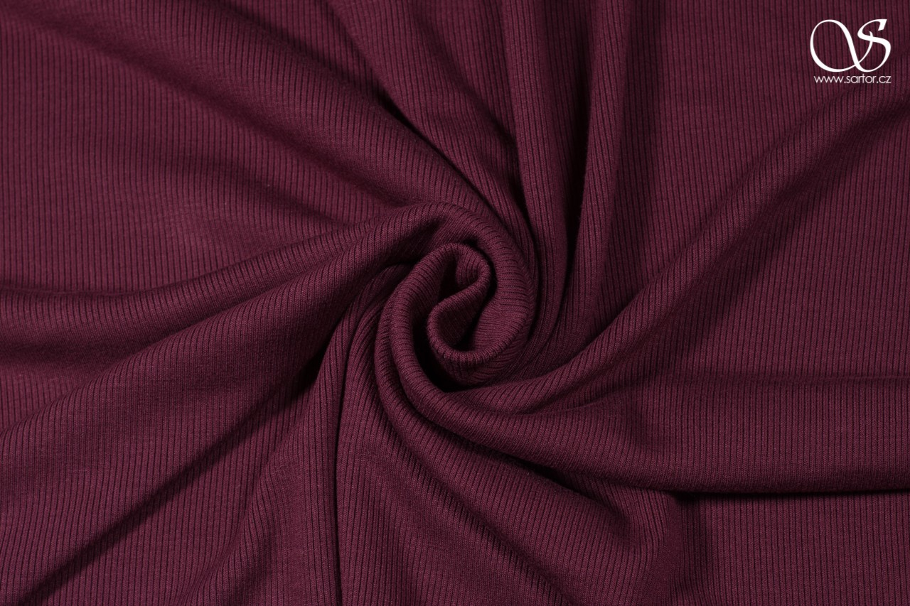 Rib knit, recycled rayon, burgundy