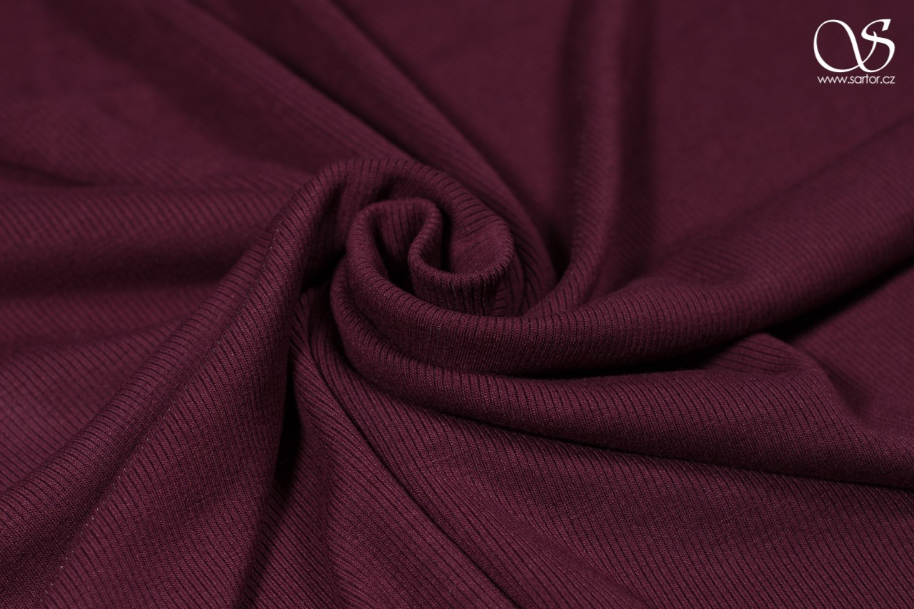 Rayon rib knit recycled, burgundy