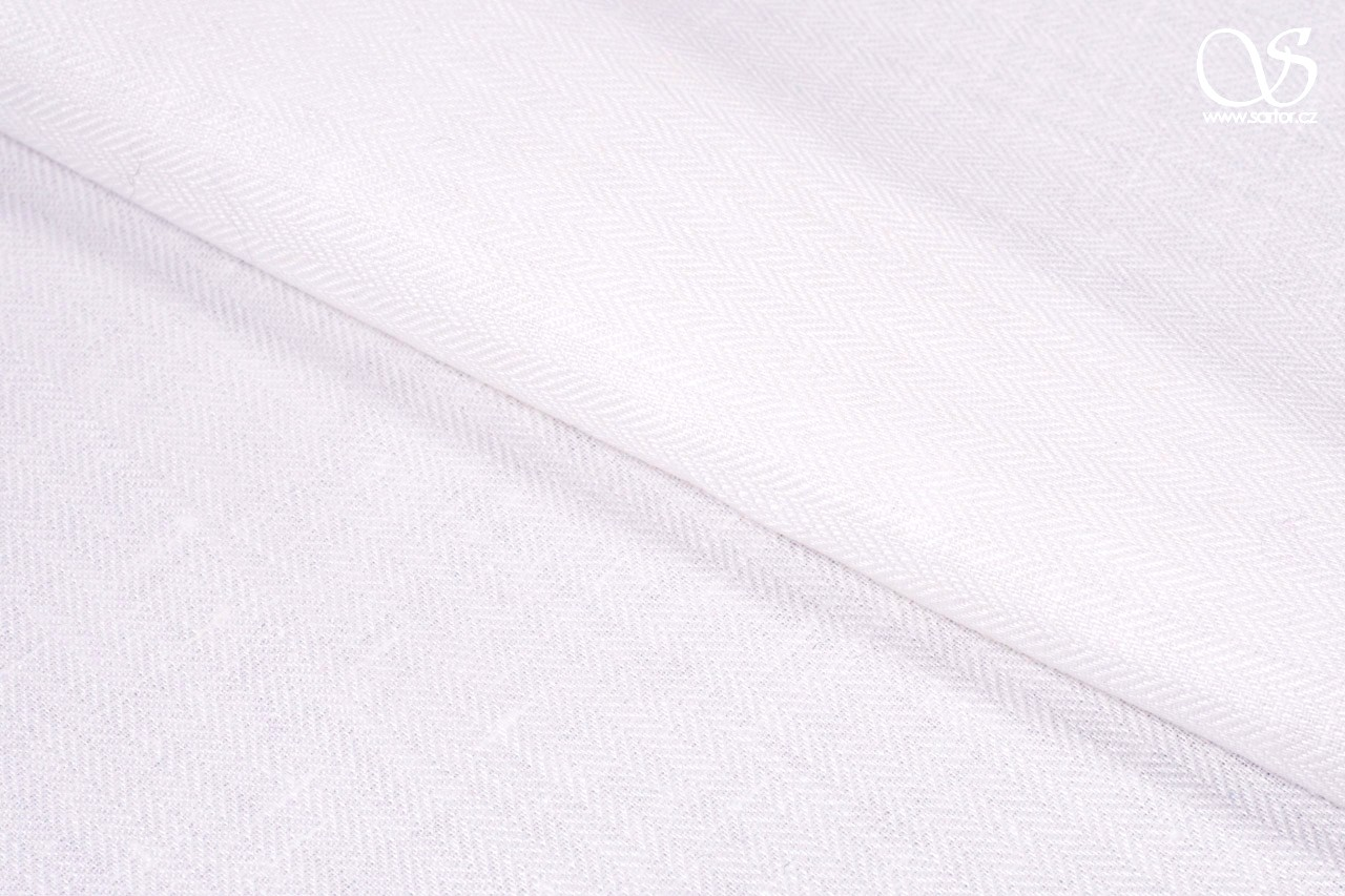 Herringbone linen, pure white, 1,85m, DEFECTS