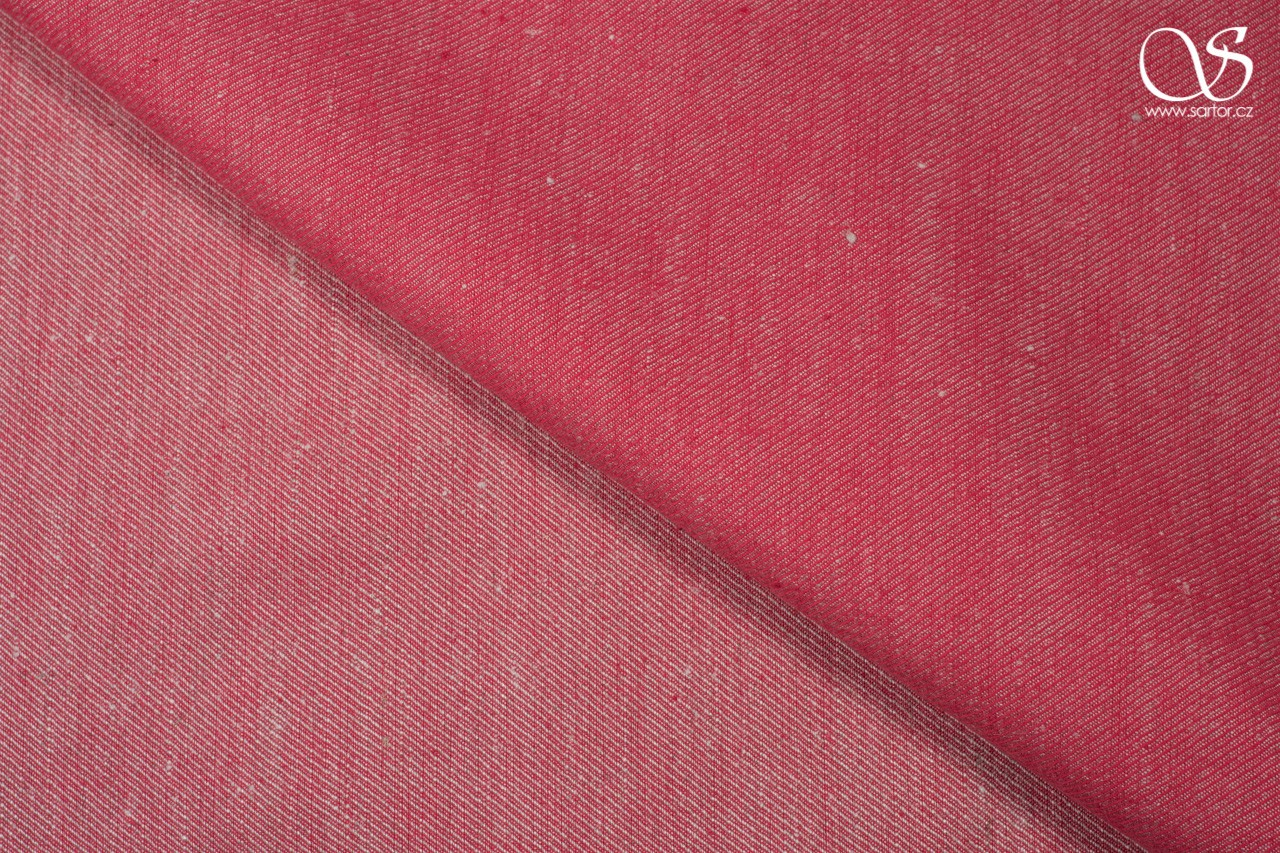 Twill linen, red and beige, 0,5m, DEFECTS