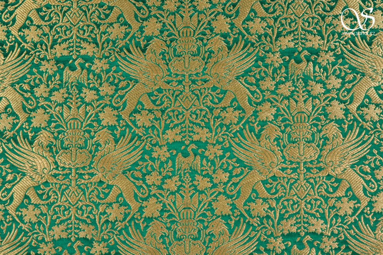 Italian brocade, griffins at fountains, gold on green