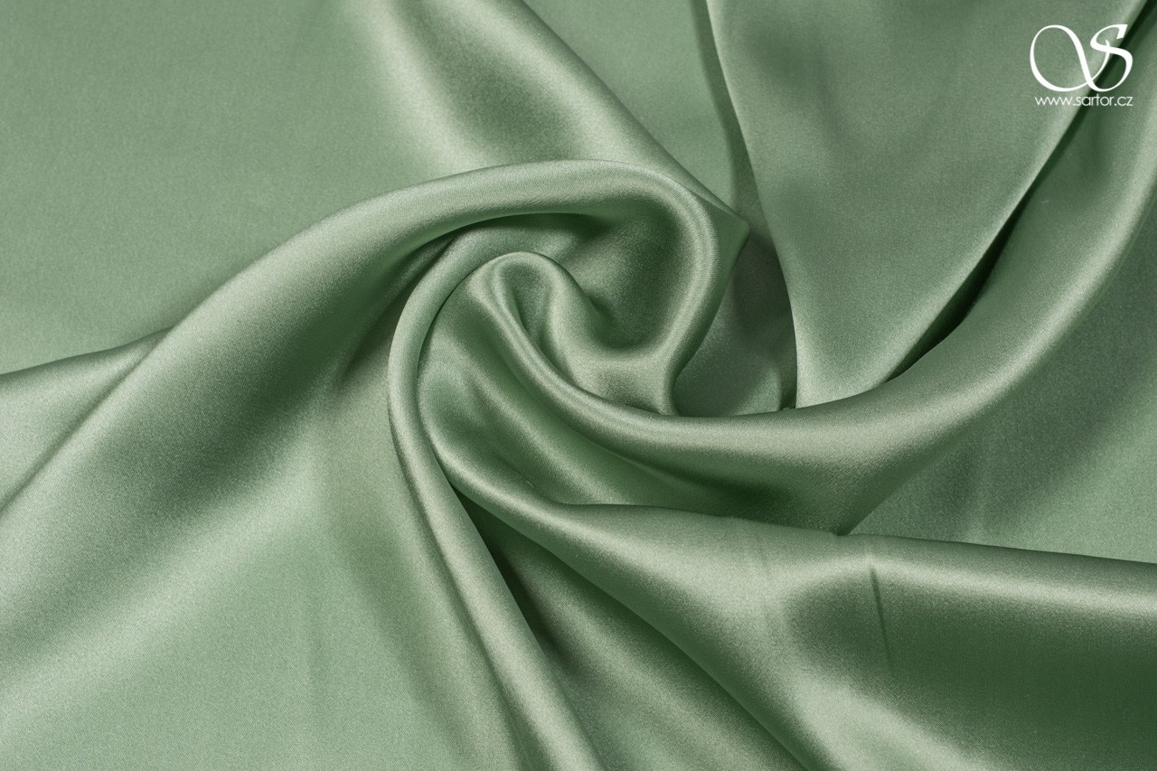 Satin, light green