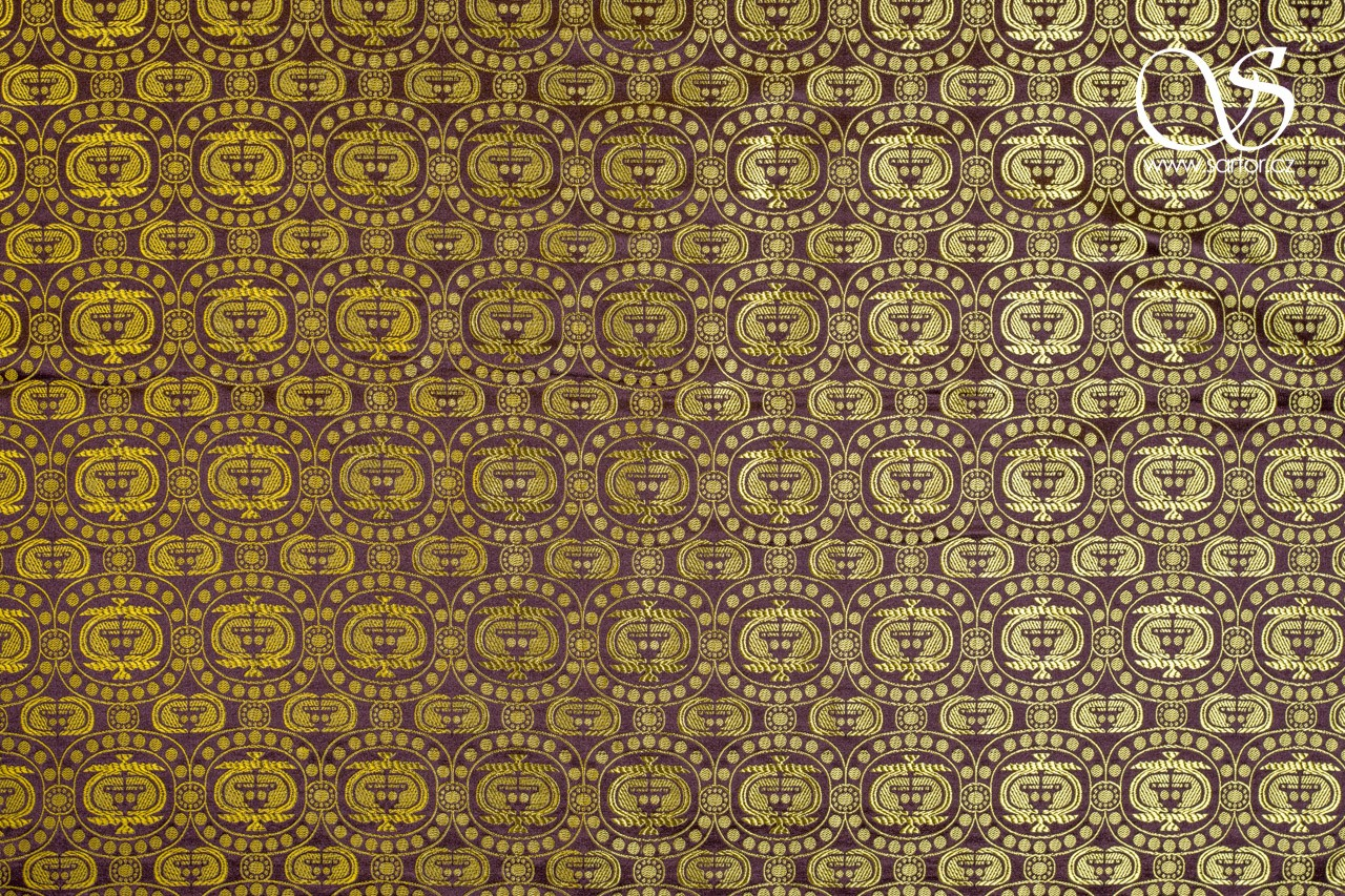 Caucasian Brocade, Yellow and Brown, 0,5m, DEFECTS