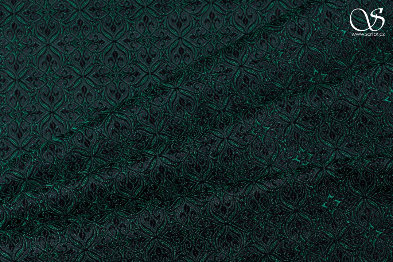 Noble Brocade, black and emerald green