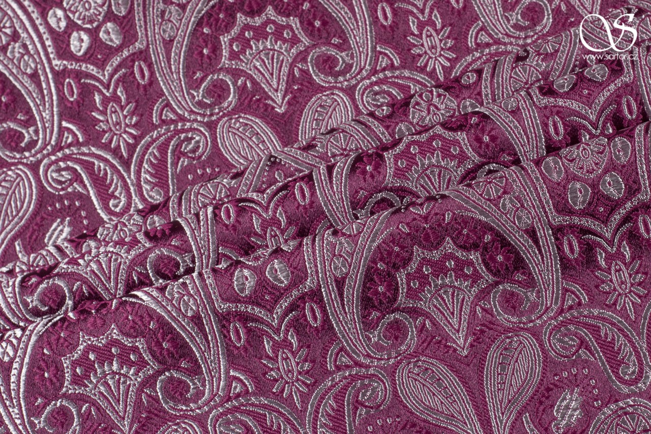 Brocade of the Duke, wine red and silver