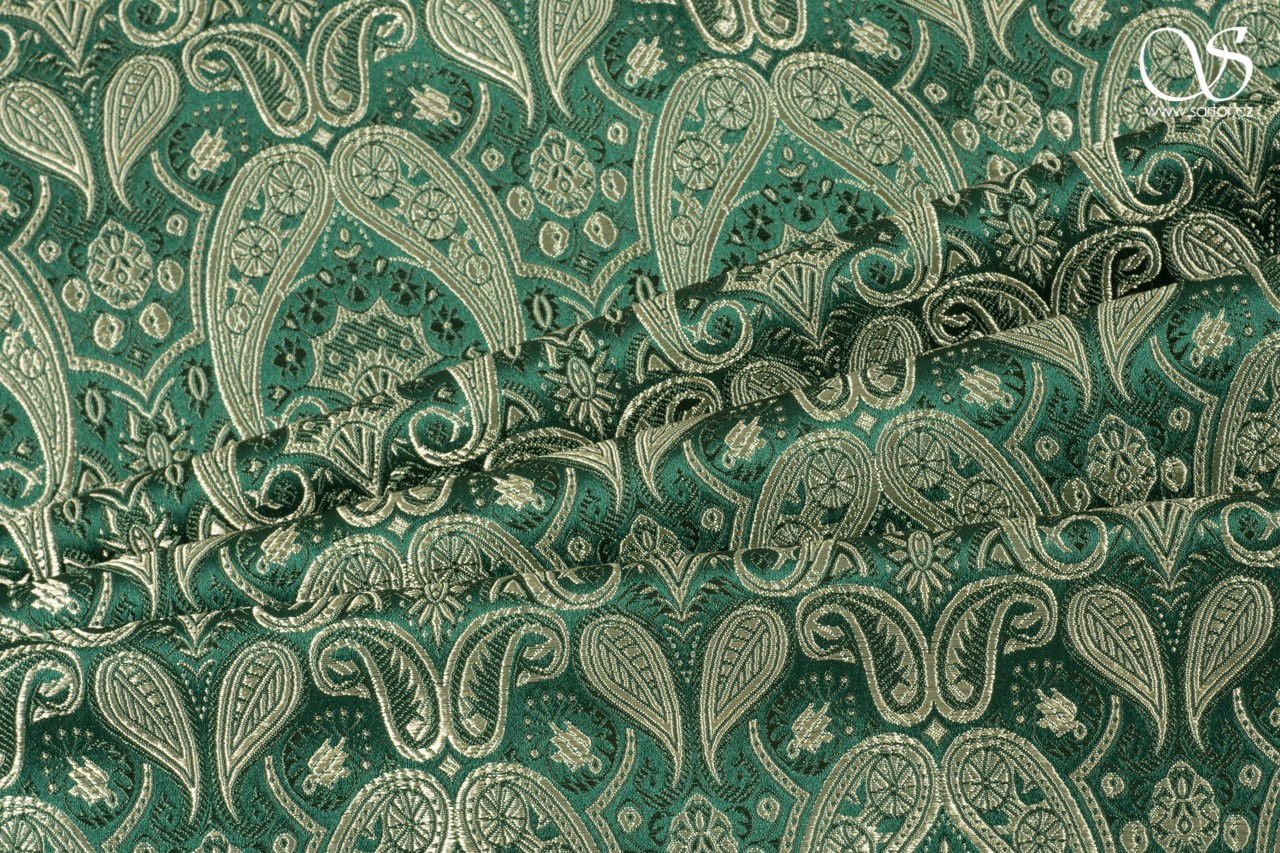 Brocade of the Duke, dark green and gold