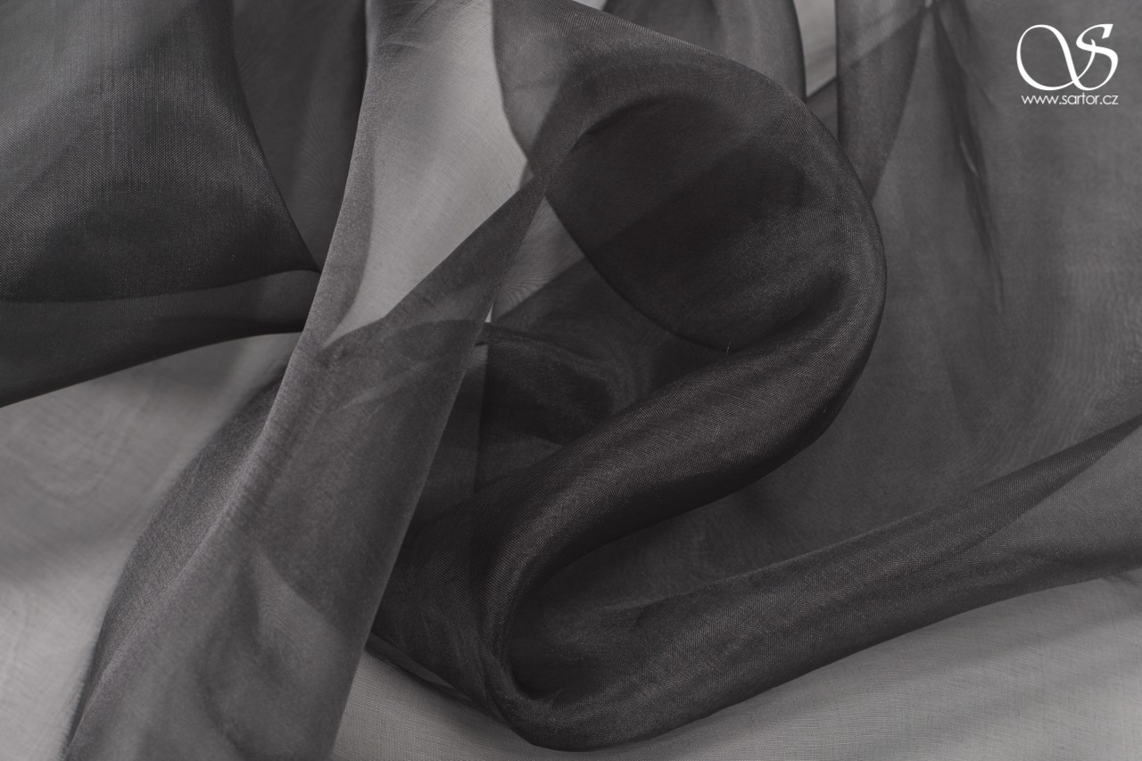 Silk organza, black