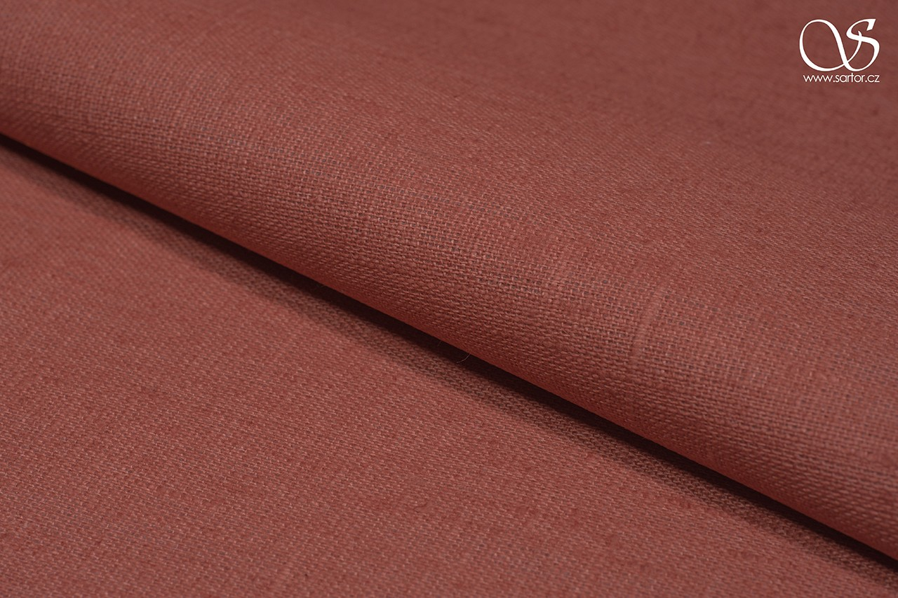 Waterproof linen, light brick red