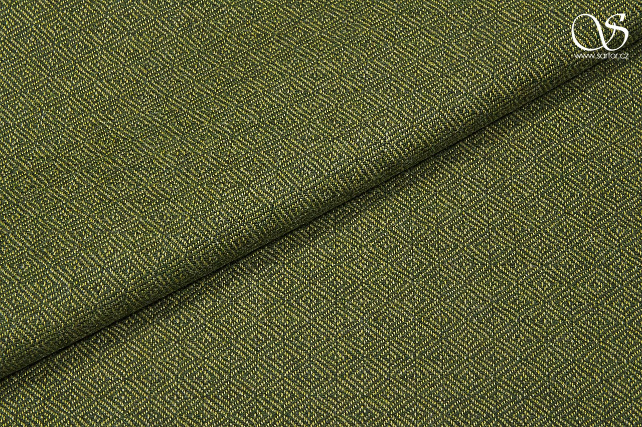 Diamond weave virgin wool, green and yellow