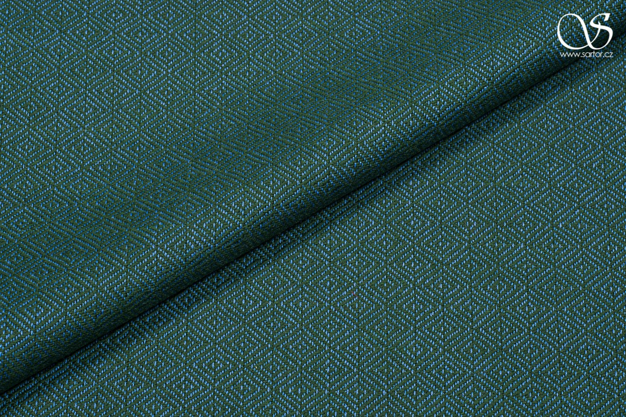 Diamond weave virgin wool, green and blue